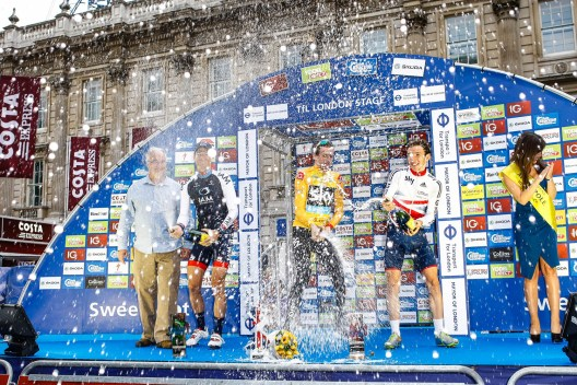 Tour of Britain Stage 8, London. Overall winner Sir Bradley Wiggins with second place rider Martin Elmiger from team IAM Cycling and third placed Simon Yates from GB Cycling.
