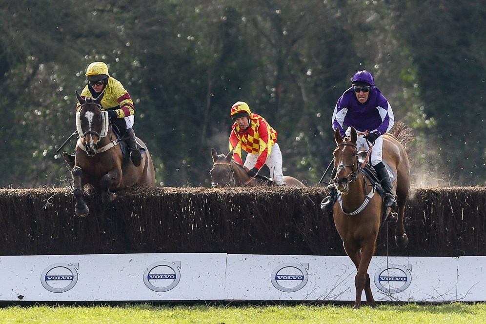 Eventual winner Hunters Lodge leads over the last fence