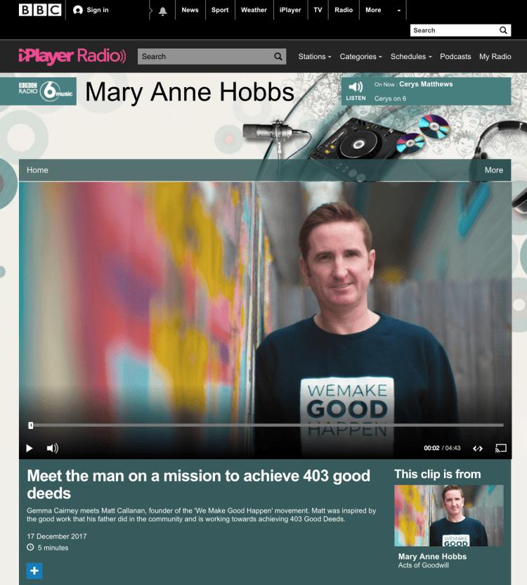 Matt Callanan - We Make Good Happen - BBC 6 Music