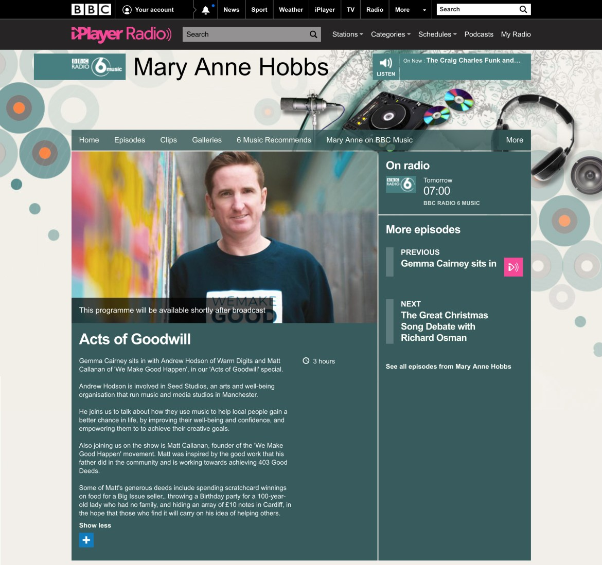BBC 6Music - Acts Of Good Will - Matt Callanan - We Make Good Happen