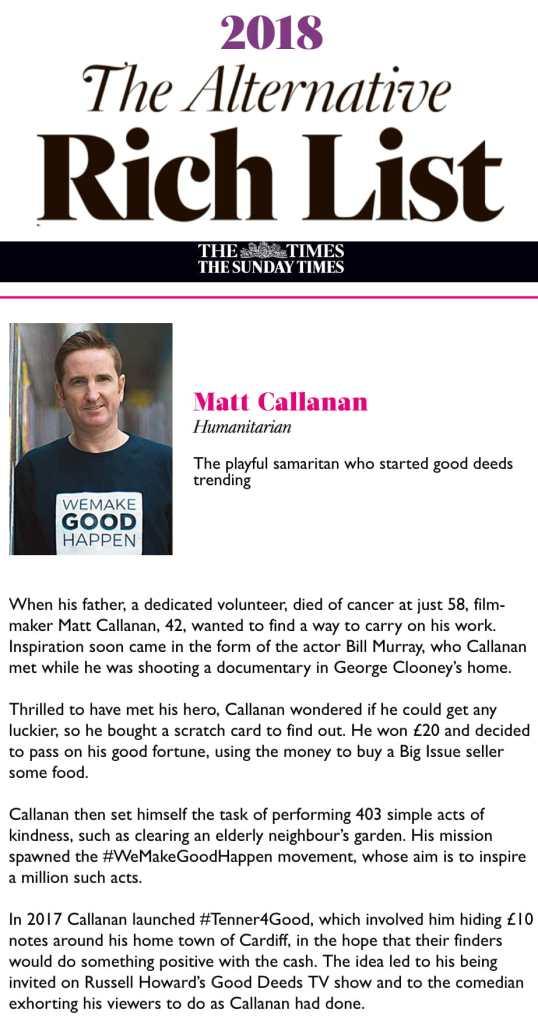 The Sunday Times Alternative Rich List Matt Callanan We Make Good Happen Tenner4Good