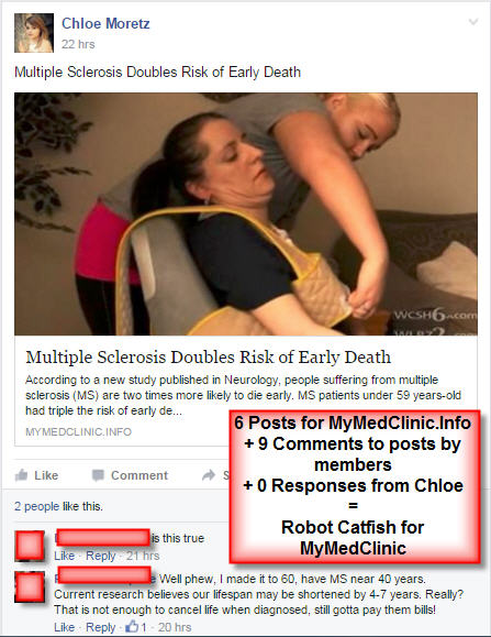 Robot catfish are fake FB profiles that try to get you to visit fake medical websites part 3