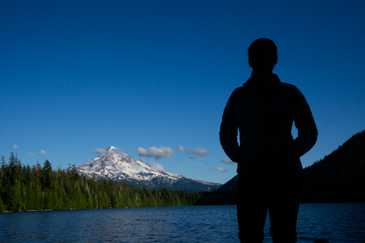 Initial composition of silhouetted model looking toward Mt. Hood from Lost Lake, Oregon.