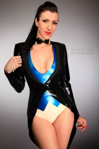 Lady Lucie Latex in Tailcoat, Waistcoat, Bodysuit & Bow-tie