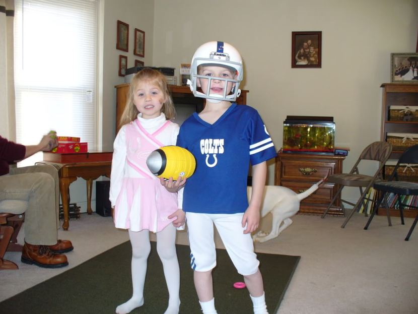 Colts cheerleader and Colts player at our Super Bowl party