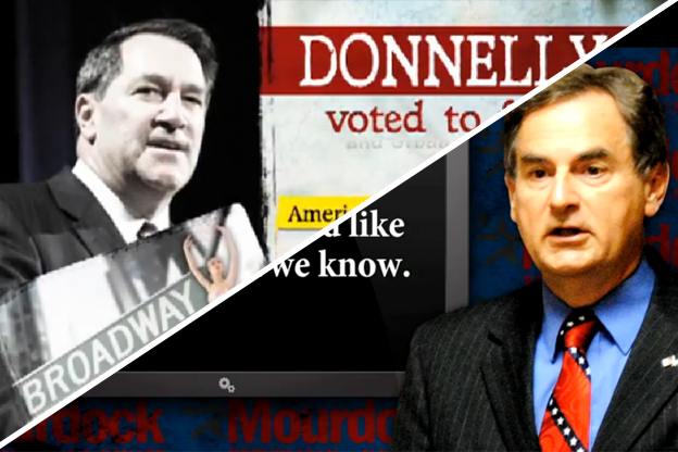 Screencaps from attack ads about the Indiana Senate race
