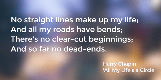 No straight lines make up my life; And all my roads have bends; There's no clear-cut beginnings; And so far no dead-ends. Harry Chapin, All My Life's a Circle