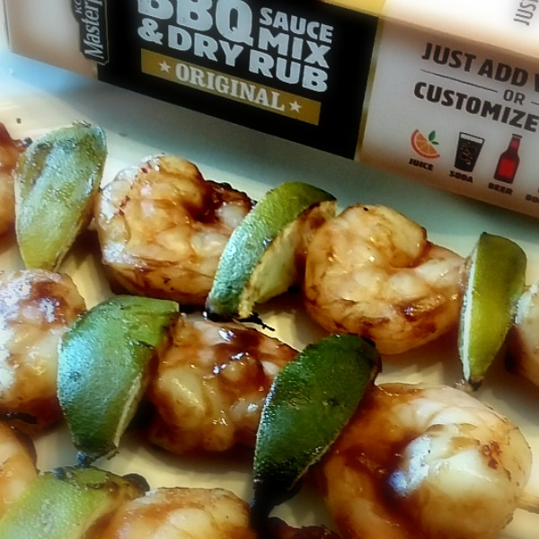 Mango Lime Coconut BBQ shrimp skewers closeup [AD] #MyKCMasterpiece