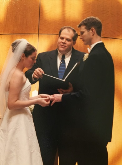 Todd Bussey officiating Leigh's wedding