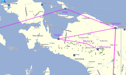 Route from Jakarta to Wamena
