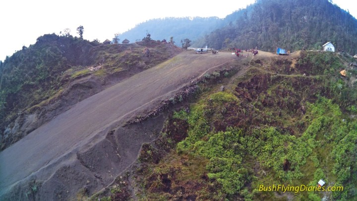 Drone photo showing the slope at Wipon airstrip, Papua