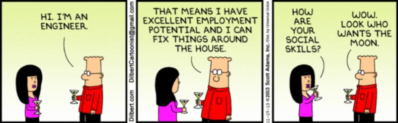 Dilbert Engineer Social Skills cartoon
