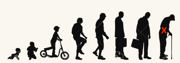 Series of silhouette pictures of men from baby to an old man marked with an X