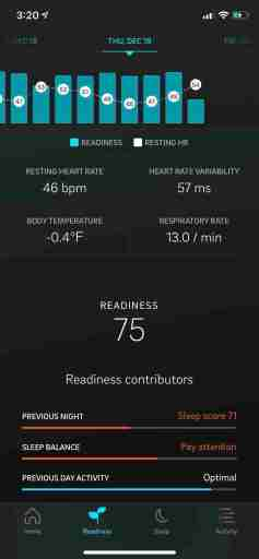 oura graph showing 46 bpm heart rate and 57 ms heart rate variability