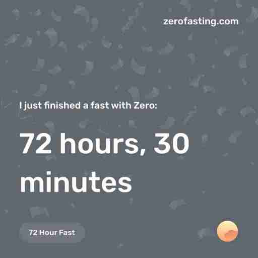 zero fasting alert showing I completed a feast of 72 hours, 30 minutes