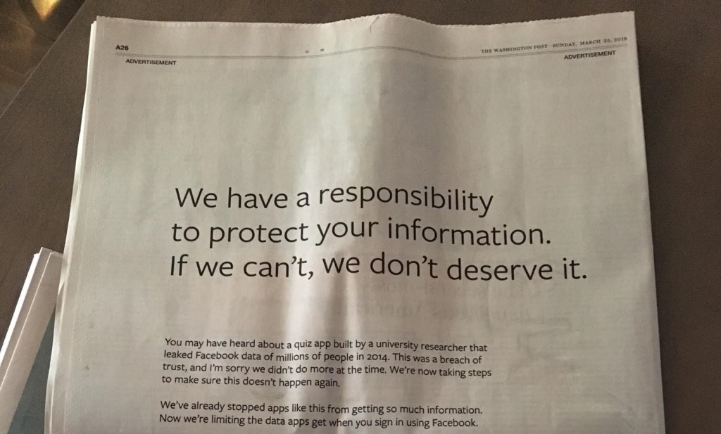A picture of the Facebook apology that ran in major newspapers after the scandal.