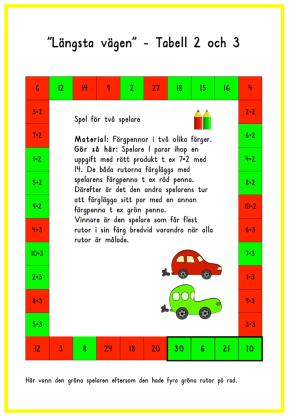 Längsta vägen sid 2 tabell 2 och 3