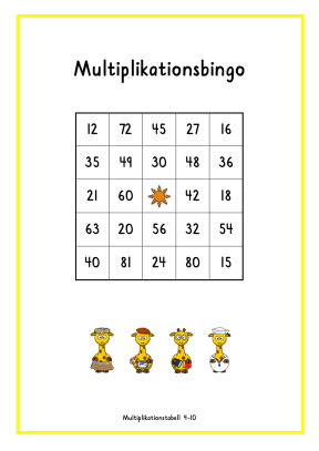 Multiplikationsbingo 4-10