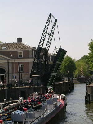Amsterdam drawbridge in operation