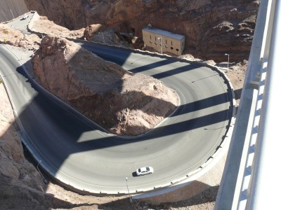 Hoover Dam access road from the Pat Tillman bridge