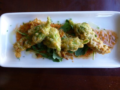 Stuffed zucchini blossoms at Company