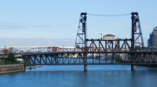 Steel Bridge, Broadway Bridge, and Fremont Bridge