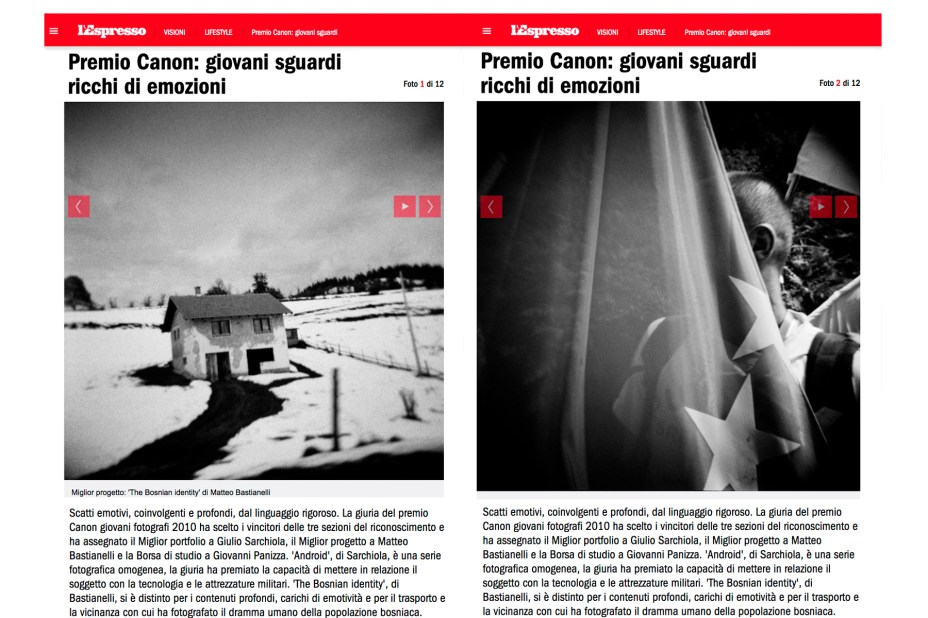"January 2011 - ""The Bosnian Identity"" featured on L'Espresso magazine."