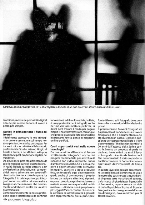 "January 2012 - ""The Bosnian Identity"" published in Progresso Fotografico."
