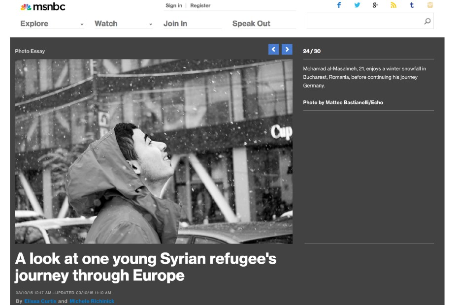 "March 2015 - ""Souls of Syrians"" published in MSNBC photography."