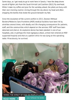 December 2018 - Pictures and videos realized on assignment for Doctors Without Borders/Médecins Sans Frontières in Yemen, published in their latest articles and campaigns on the web.