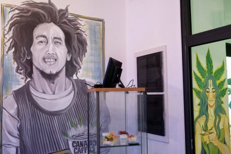 """A display case containing industrial hemp products at the headquarters of the cultural association """"Canapa caffè"""". Rome, Italy 2016. © Matteo Bastianelli"""