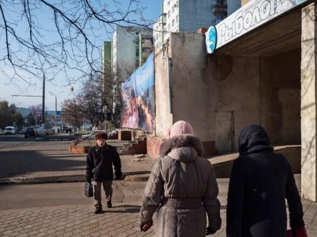 """Russian citizens walk in """"de facto"""" capital of the autonomous region of Transnistria. Tiraspol, Transnistria (Moldova) 2014. © Matteo Bastianelli"""