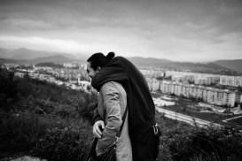 Adis Smajic and Naida Vreto Smajic in Dobrinja, the district where they live, near the ex front-line on the outskirts of Sarajevo. Sarajevo, Bosnia and Herzegovina, 2011. © Matteo Bastianelli