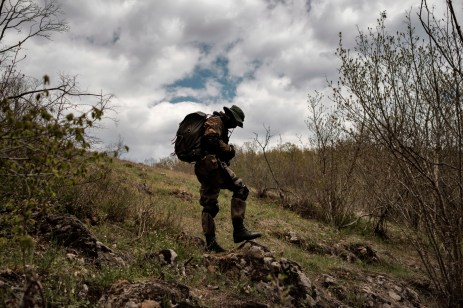 "A 31-year-old man originally from Burgas, is seen in the vicinity of the Strandja Mountain. «I decided to join the ""Vasil Levski"" Bulgarian Military Veterans Union -he affirms- because our government doesn't want to protect us. Nobody will defend us, and therefore, we take it unto ourselves. This is a planned invasion. Those who illegally cross the border are soldiers, not just migrants». Yasna Polyana, Bulgaria 2017. © Matteo Bastianelli"