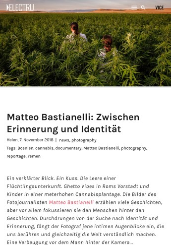 November 2018 - Some of my pictures published in the Berlin online magazine Electru, part of Vice's network.