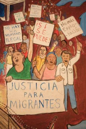 "A mural depicting people demonstrating in favour of justice and equality rights for migrants, painted in the shelter of ""Casa del Buen Samaritano"" by the migrants hosted in the facility with the help of volunteers from the Migrant Orientation Center of Oaxaca (COMI), a nonprofit organization that provides humanitarian assistance to migrants. Oaxaca de Juarez, Mexico 2019. © Matteo Bastianelli"