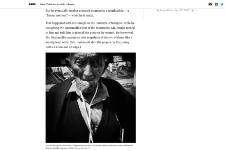 "January 2014 - ""The Bosnian Identity"" published in ""Lens""-The New York Times's photography blog"