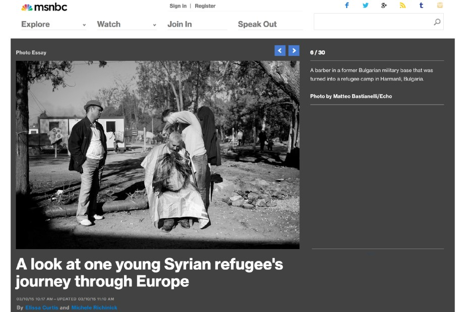 "March 2015 - ""Souls of Syrians"" published in MSNBC photography"