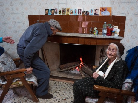 101-year-old Vittorio Palmas with his 95-year-old wife Giuseppa. After being held prisoner for 16 months during the Second World War, Vittorio finally came back home and met Giuseppa. They have been married for 69 years. Perdasdefogu, Italy 2015. © Matteo Bastianelli
