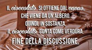 Frase sul cioccolato condivisa dal sito Fanpage.it
