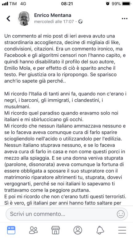 Commento di Enrico Mentana pubblicato su Facebook mercoledì 25 agosto 2018