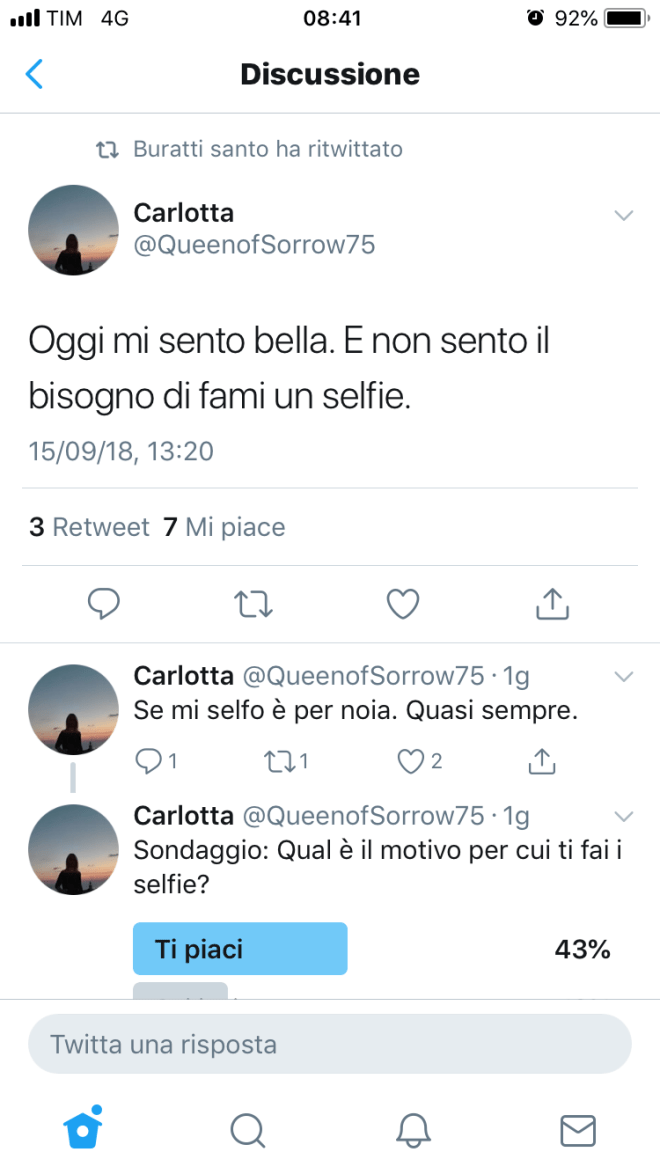 """Tweet dell'utente """"Mi sento bella senza selfie"""""""