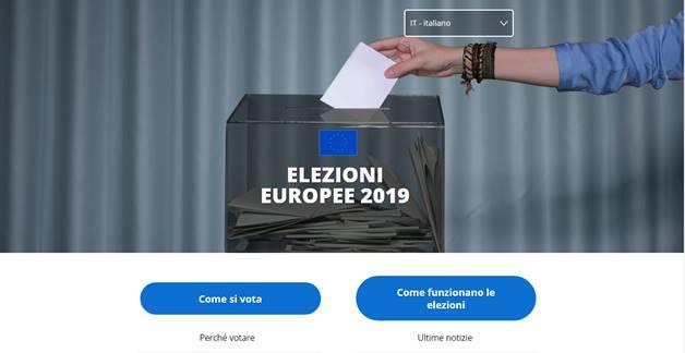 Home page del sito dedicato alle elezioni europee