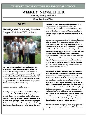 the first section two of the new YCT newsletter