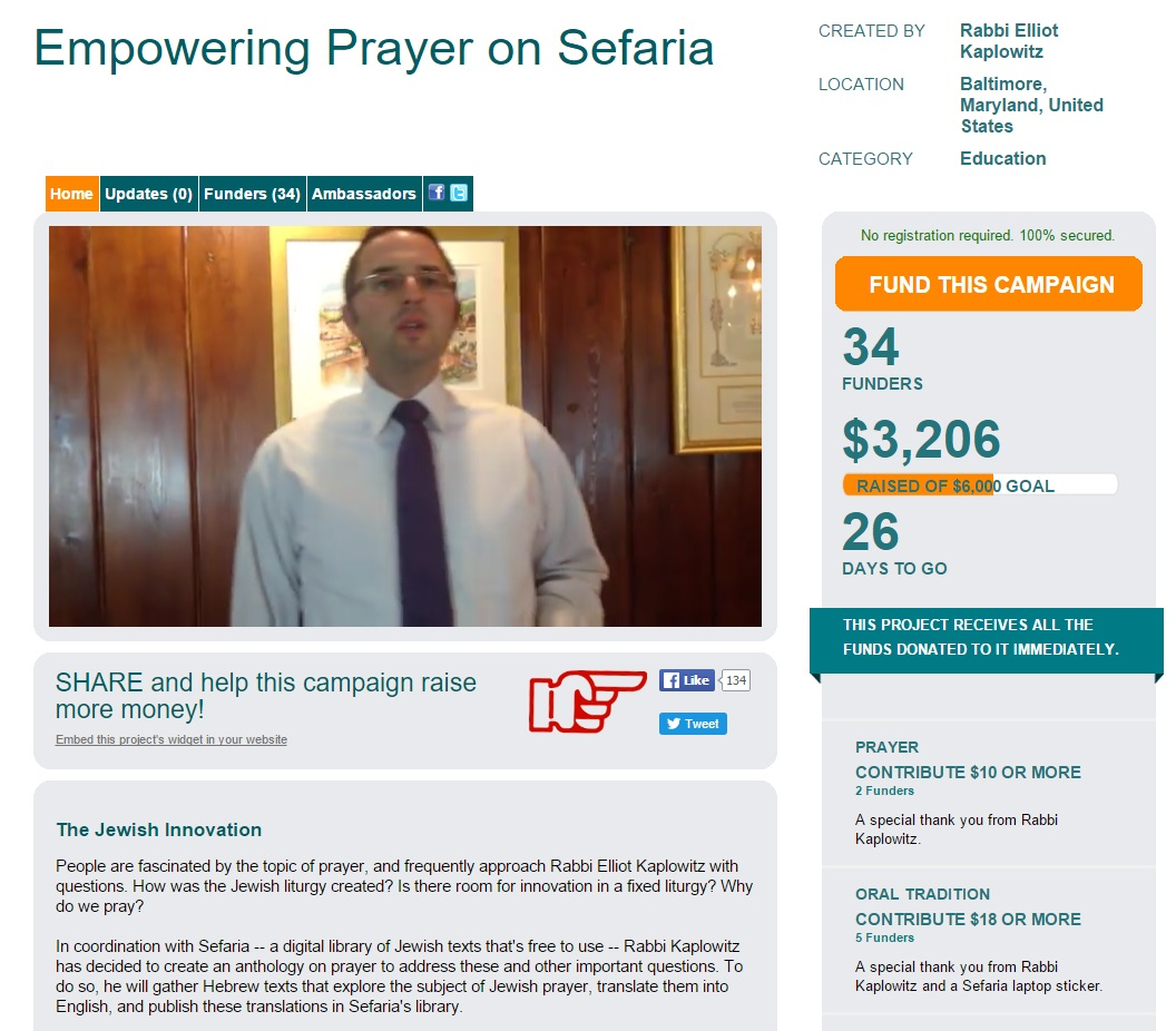 Sefaria Raising Funds to Make Prayer Texts Project Possible