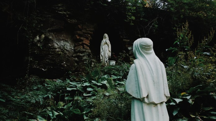 Lourdes Statues in the Grotto at Saint Francis University