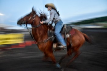 Wacey Brown, of Piedmont, takes off in the barrel racing on the first night of the Wessington Springs Foothills Rodeo on Saturday, May 28 at the Jerauld County 4-H arena.