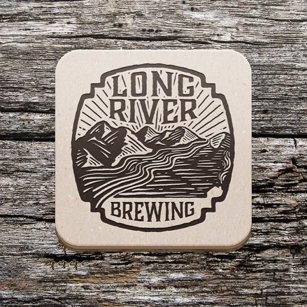 Long River Brewing Logo on Coaster