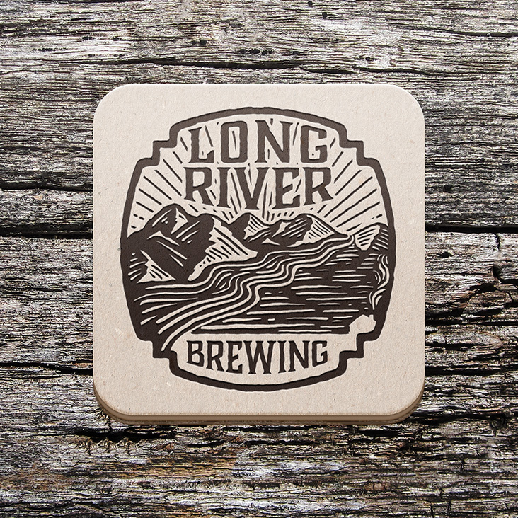 Long River Brewing Logo on Coaster