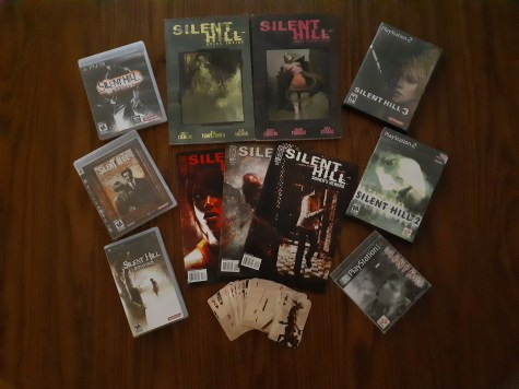 Silent Hill games, comics, and playing cards.